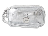 My Flat In London Pretty Witty Wise Double Zip Pouch Silver Clutch Handbags