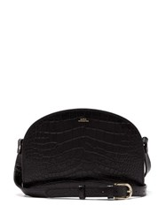 A.P.C. Half Moon Crocodile Effect Leather Cross Body Bag Black
