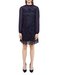 Ted Baker Amalie Lace Overlay Silk Dress 100 Bloomingdale's Exclusive Dark Blue