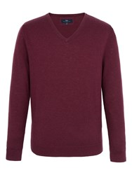 Paul Costelloe Men's Mansion V Neck Merino Jumper Wine