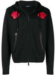 Dsquared2 Leather Rose Embroidered Hoodie Black