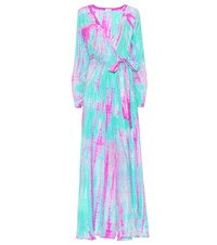 Anna Kosturova Tie Dye Silk Maxi Dress Blue