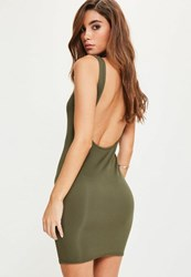 Missguided Khaki Scoop Back Bodycon Dress