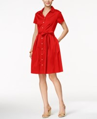 Charter Club Cap Sleeve Belted Shirtdress Only At Macy's Red Barn