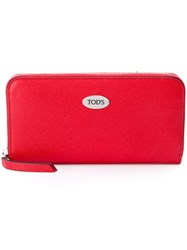 Tod's Logo Plaque Zipped Wallet Red