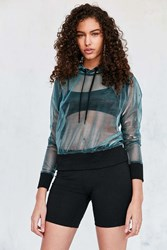 Silence And Noise Caviar Iridescent Shimmer Mesh Hoodie Top Blue