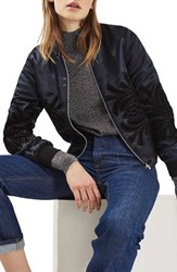 Topshop Women's Velvet Embroidered Satin Bomber Jacket
