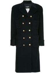 Chanel Vintage Cashmere Double Breasted Coat Blue