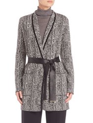 Escada Herringbone Printed Jacket Black