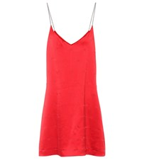 Amiri Embellished Silk Slip Dress Red