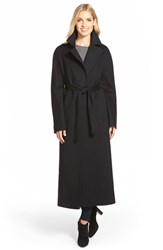 Women's Fleurette Long Wool Belted Notch Collar Coat Black