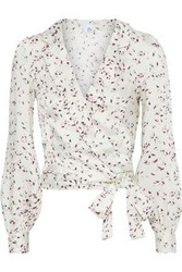 Iris And Ink Woman Meadow Printed Satin Twill Wrap Blouse Ivory