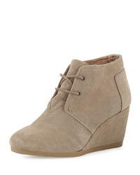 Suede Desert Wedge Bootie Natural Taupe Toms
