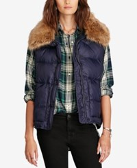 Denim And Supply Ralph Lauren Faux Fur Trim Puffer Down Vest Navy Multi