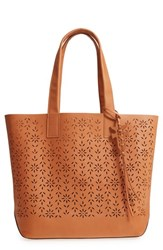 Frye Carson Perforated Logo Leather Tote Brown Light Tan