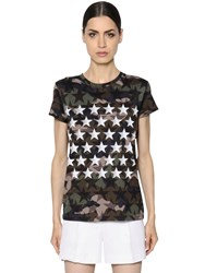 Valentino Stars And Camo Print Cotton Jersey T Shirt