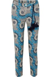 Figue Zulu Cropped Printed Cotton Straight Leg Pants Blue
