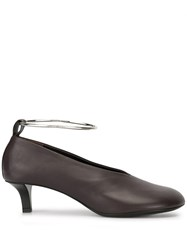 Jil Sander Metal Ankle Strap Pumps Brown