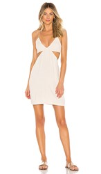 Indah Robin Cutaway Mini Dress In White. Opal Stonewash