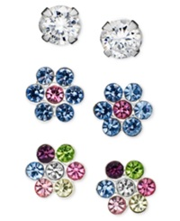 Unwritten Sterling Silver Earrings Set Cubic Zirconia 1 5 Ct. T.W. And Flower Studs