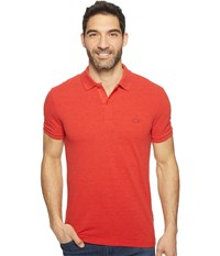 Lacoste Short Sleeve Garment Dyed Vintage Polo Slim Red Dyed Men's Short Sleeve Pullover