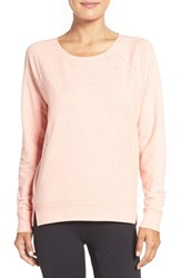 Zella Women's 'Luxesport' Long Sleeve Sweatshirt Coral Poppy Heather