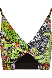 Versace Cropped Floral Print Crepe Top Lime Green