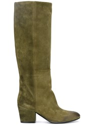 Buttero Contrast Detail Knee High Boots Green