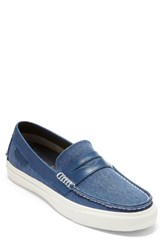 Cole Haan Pinch Weekender Lx Penny Loafer Navy Peony Canvas Leather