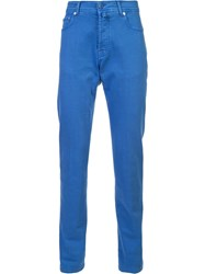Kiton Tapered Trousers Blue