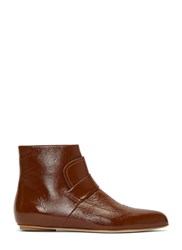Marni Patent Grained Ankle Boots Brown