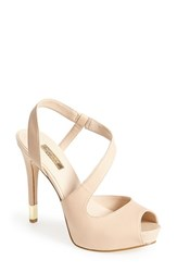 Women's Guess 'Hilarie' Peep Toe Sandal Natural Leather