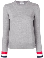 Thom Browne Grosgrain Cuffs Crew Jumper Polyester Wool Grey