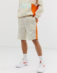 Criminal Damage Co Ord Shorts In Cream With Colour Blocking
