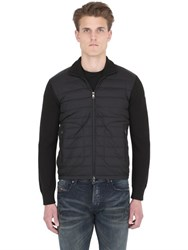 Moncler Nylon And Wool Knit Down Jacket