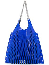 Sonia Rykiel By Cut Out Detail Shoulder Bag Women Cotton Leather Polyester One Size Blue
