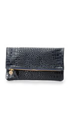 Clare V. Croc Embossed Supreme Fold Over Clutch Ink