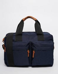 Asos Satchel In Blue Nylon With Front Pocket Blue