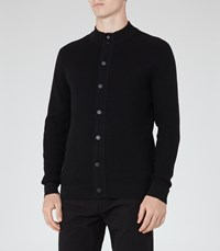 Reiss Kizzy Mens Textured Button Cardigan In Black