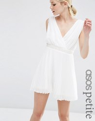 Asos Petite Pleated Mini Skater Dress With Embellished Waist White