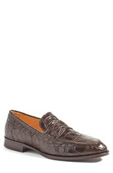 Zelli Men's 'Roma' Genuine Crocodile Penny Loafer Nicotine Leather
