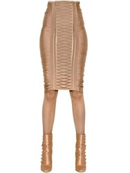 Balmain Ruched Lace Up Stretch Pencil Skirt