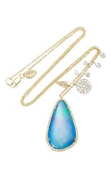 Meira T Yellow Gold Australian Opal Necklace With White Gold Side Charms Blue