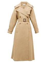 Valentino Logo Plaque Cotton Trench Coat Beige