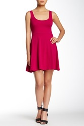 Angie Solid Skater Dress Pink