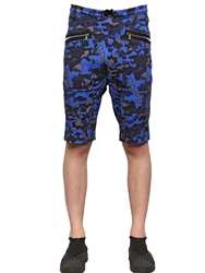 Markus Lupfer Camo Printed Cotton Jogging Shorts Blue