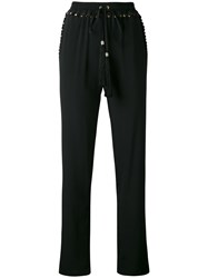 Class Roberto Cavalli Tassel Waist Trousers Women Silk Acetate 44 Black