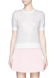 Alice Olivia 'Echo' Rhinestone Embellished Wool Sweater White Metallic