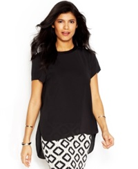 Rachel Rachel Roy Petra Top Short Sleeve Layered Look Top Black
