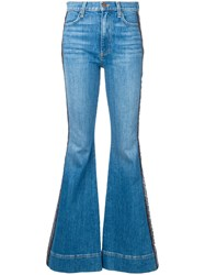 Alice Olivia Embroidered Stripe Flared Jeans Blue